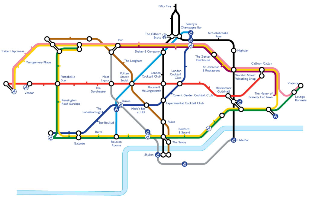 Tube map of Cocktail Bars Sex Drugs and Bacon Rolls