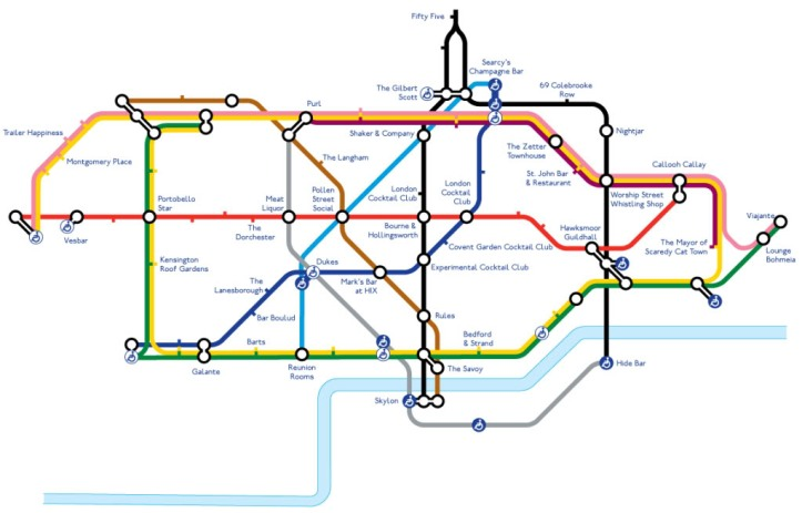 tube map of cocktail bars